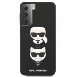 Калъф за Samsung Galaxy S21 Plus, хибриден, Karl Lagerfeld Saffiano Karl & Choupette Heads Case (KLHCS21MSAKICKCBK), удароустойчив, черен