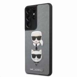 Калъф за Samsung Galaxy S21 Ultra, хибриден, Karl Lagerfeld Saffiano Karl & Choupette Heads Case (KLHCS21LSAKICKCSL), удароустойчив, сребрист