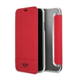 Калъф за Apple iPhone XS/X, полиуретанова, Mini Cooper Leather Booktype Case, червен