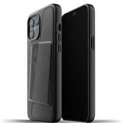 Калъф за Apple iPhone 12 Pro Max, естествена кожа, Mujjo Leather Wallet Case (MUJJO-CL-010-BK), с джоб за кредитна карта, черен
