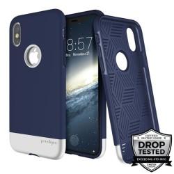 Калъф за Apple iPhone XS, хибриден, Prodigee Fit Pro IPHX-FITP-NVY-SLV, удароустойчив, тъмно син/сребрист