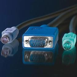 KVM кабел ROLINE 11.99.5456, 1x HD15 M/M, 2x PS/2 M/M, 3C+4, 3.0 м