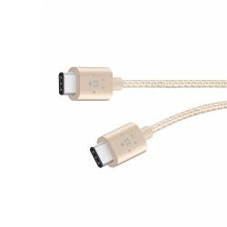 Кабел Belkin MIXIT Metallic (F2CU041bt06INGD), от USB C(м) към USB C(м), 0.15m, златист