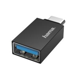 Адаптер Hama, от OTG USB-C мъжко-USB 3.2 Gen 1 към USB A (ж), Черен