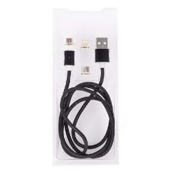 Кабел Royal 3 in 1 MAGNETIC Black, от USB Type A(м) към micro USB/lightning/ USB Type C(м) 1m, черен