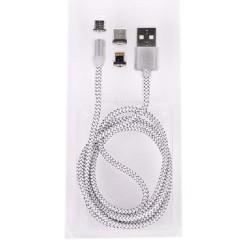 Кабел Royal 3 in 1 MAGNETIC White, от USB Type A(м) към micro USB/lightning/ USB Type C(м) 1m, бял