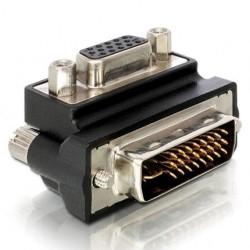 Адаптер DeLock, от VGA(ж) към DVI(м), 90°, черен