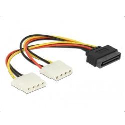 Захранващ кабел DeLock 65159, SATA 15pin(м) към 2x 4pin Molex(ж), 0.2m