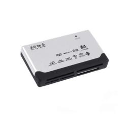 Четец за карти All in 1, USB, microSD, SDHC, MMC, CF, бял