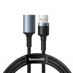 Удължителен кабел Baseus Cafule (CADKLF-B0G), от USB A(м) към USB A(ж), 1m, сив