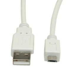 Кабел Roline S3151-400, USB A(м) към USB Micro B(м), 0.8m, бял