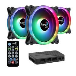 Вентилатор 120mm AeroCool Fan Pack 3in1 DUO 12 Pro, 4-pin PWM, 3 броя, контролер, дистанционно, 1000 rpm, RGB подсветка