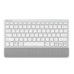 Клавиатура Delux K3300D, безжична, Bluetooth, мултимедийни бутони, сребриста