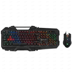Комплект клавиатура и мишка A4Tech B2500, гейминг, подсветка, оптична мишка (4000 dpi), USB, черна