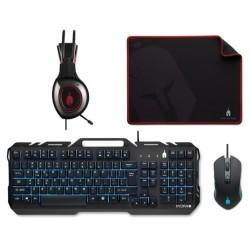 Комплект клавиатура и мишка с пад и слушалки Spartan Gear Hydra II (054148), гейминг, оптична (3200 dpi), USB,