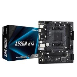 Дънна платка ASRock A520M-HVS, A520, AM4, DDR4, PCI-E 3.0 (HDMI/VGA), 4x SATA 6Gb/s, 1x M.2, 4x USB 3.2 Gen 1, Micro ATX