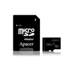 Карта памет 128GB microSDXC с адаптер, Apacer, Class 10 UHS-I, скорост на четене 80MB/s, скорост на запис 20MB/s