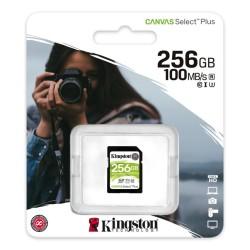 Карта памет 256GB SDHC, Kingston Canvas Select Plus, Class 10 UHS-I, скорост на четене 100MB/s, скорост на запис 85MB/s