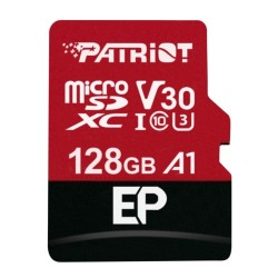 Карта памет 128GB microSDXC с адаптер, Patriot EP Series (PEF128GEP31MCX), Class 10 U3, скорост на четене 90MB/s, скорост на запис 80MB/s