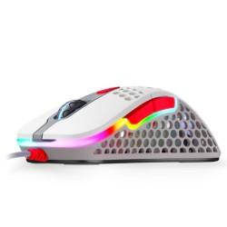 Мишка Xtrfy M4 Retro RGB, оптична (16000 dpi), USB, бяла, RGB подсветка, гейминг
