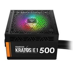 Захранване Gamdias KRATOS E1-500, 500W, Active PFC, 80 Plus, 120 mm RGB вентилатор