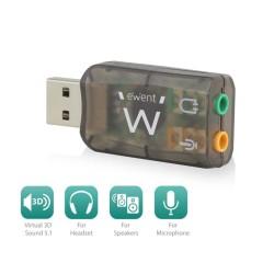 Външна звукова карта Ewent EW3751, USB 2.0, 1x Audio Out, 1x Mic, 5.1, черна