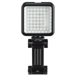 LED лампа Hama 49 BD (04641), за осветление по време на видео и фото снимки със смартфон или камера, за смартфони с ширина от 4,8 - 9,5 см, черна