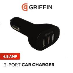 Зарядно устройство за кола Griffin GP-008-BLK, от автомобилна запалка към 3x USB, 12V/24V, 4.8A, черно