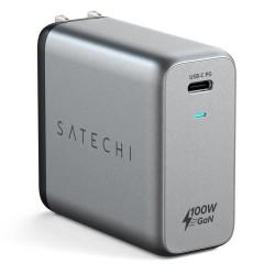 Зарядно устройство Satechi GaN (ST-UC100WSM-EU), от EU контакт към USB C(ж), сиво, 100W