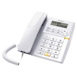 Стационарен телефон Alcatel T58, Течнокристален едноредов черно-бял дисплей, бял