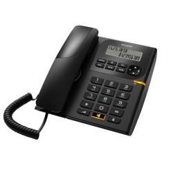 Стационарен телефон Alcatel T58, Течнокристален едноредов черно-бял дисплей, черен