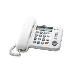 Стационарен телефон Panasonic KX-TS580FXW, LCD черно-бял дисплей, бял