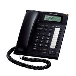 Стационарен телефон Panasonic TS 880FX, LCD черно-бял дисплей, черен