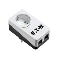 Eлектрически филтър Eaton Protection Box 1 Tel @ DIN PB1TD, 1 гнездо, 2 x RJ11 порта, пикова мощност 4000 W, номинален изходен ток 16 A, бял