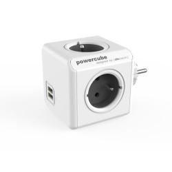 Разклонител Allocacoc PowerCube 1202RD, 4 гнезда, 2x USB Type A, защита за деца, бял-сив