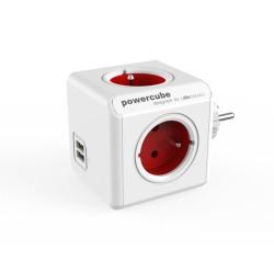 Разклонител Allocacoc PowerCube 1202RD, 4 гнезда, 2x USB Type A, защита за деца, бял-червен