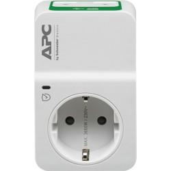 Контакт APC Essential SurgeArrest PM1W-GR, 1 гнездо, 2x USB, бял