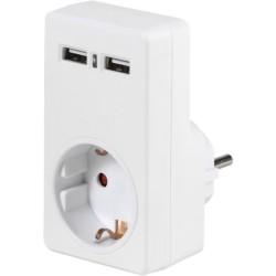 Адаптер Vivanco 34422, 1 Шуко + 2x USB, бял